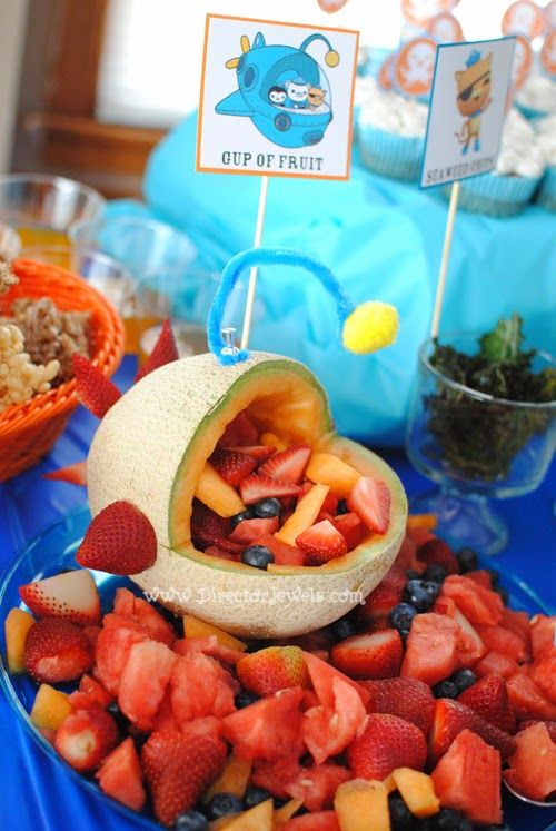 Octonauts Birthday Party Food Ideas | Canteloupe Fruit Gup A | Under the Sea Party at directorjewels.com