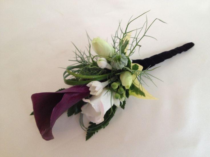 Aubergine Groom buttonhole. Just so lovely x