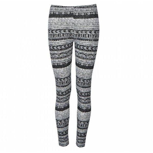 Ally Fashion Mono tribal print leggings ($7.00) ❤ liked on Polyvore featuring pants, leggings, bottoms, jeans, print, tribal pattern leggings, patterned trousers, tribal print leggings, print leggings and print pants