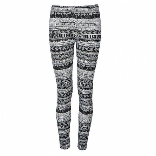 Ally Fashion Mono tribal print leggings ($6.92) ❤ liked on Polyvore featuring pants, leggings, bottoms, jeans, print, print pants, patterned pants, tribal pattern leggings, print leggings and white pants