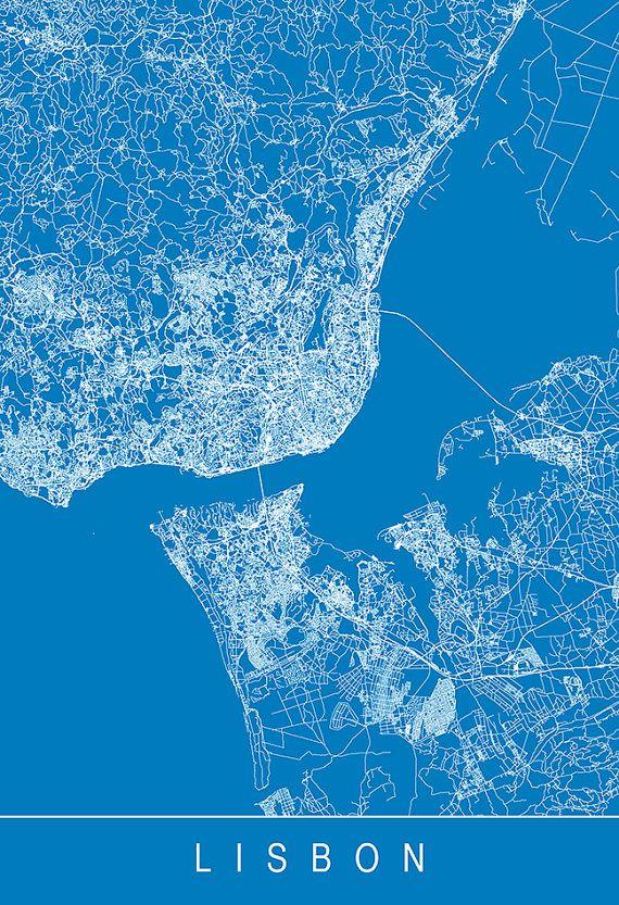 LISBON MAP PRINT Line Art City Map Lisbon by EncoreDesignStudios