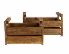 Trækasser antik, 2 str. - Havedekoration, zink, gaveartikler - Comfort and Style - AllRound ApS