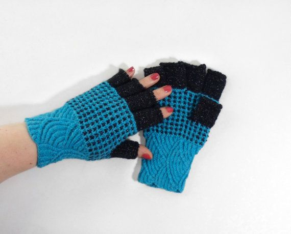 Hand Knitted Fingerless Gloves  Blue Size by UnlimitedCraftworks