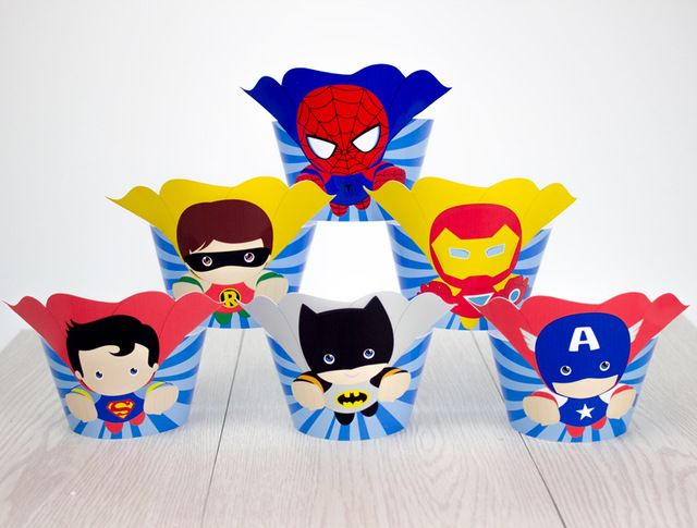 Superhero Avengers Cupcake Toppers Wrappers Super Hero Birthday Party Decorations Party Supplies Birthday Party Decorations Kids