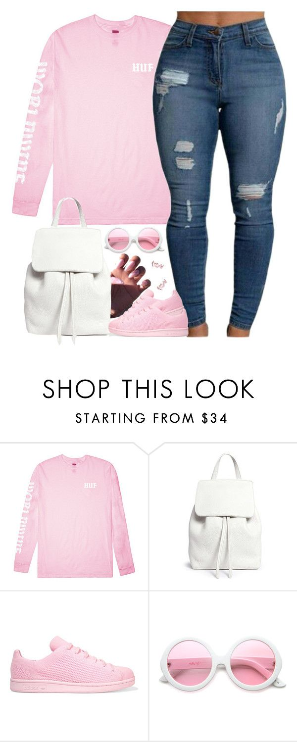 """""""Replay"""" by oh-aurora ❤ liked on Polyvore featuring HUF, Mansur Gavriel, adidas Originals, ZeroUV and Diane Kordas"""