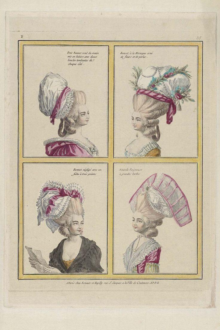 Petit Bonnet rond du matin mis en laitiere avec deux boucles tombantes de chaque côté, Bonnet à la Moresque orné de fleurs et de perles, Bonnet négligé avec un fichu à trois pointes, Nouvelle Baigneuse à grandes barbes