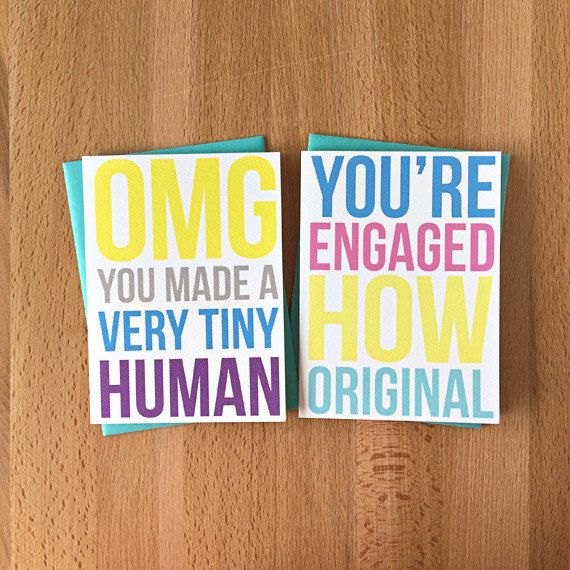 New snark in Sara Does Shop! Set of 4: Grown-Up Status Blank Note Cards | Snarky Funny Sarcastic New Baby Engagement New House Promotion Adult Thinking of You Greetings
