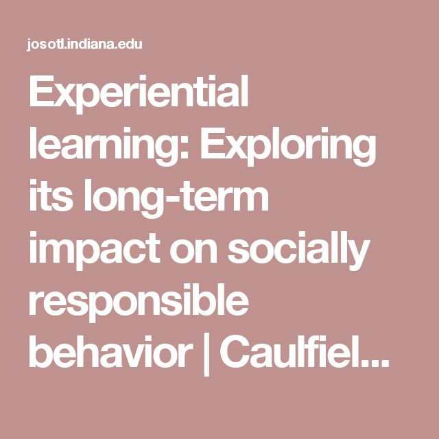 journal of experiential learning Trakia journal of sciences, vol  the experiential learning theory and the  kolb's learning cycle are some of the  kolb's experiential learning theory is one  of.