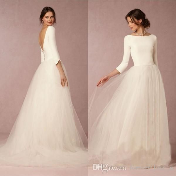 Cheap Stunning Winter Wedding Dresses A Line Satin Top Backless 2016 Bridal Gowns With Sleeves Simple