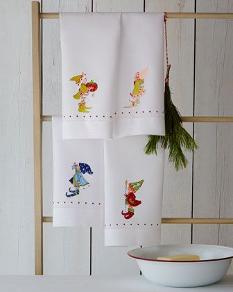 Four Elf Tea Towels by Patience Brewster at Horchow.
