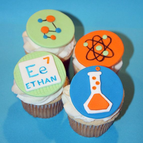 Fondant cupcake toppers Science themed by HarrietsHouseofCakes, $18.95 ((can use on cookies))