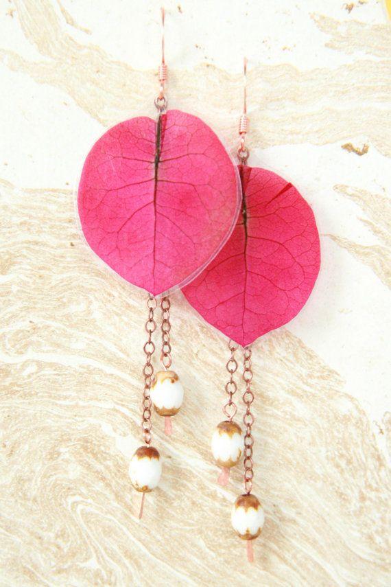 Natuurlijke Flower Jewelry Fuchsia van IMPRESSEDbynature op Etsy