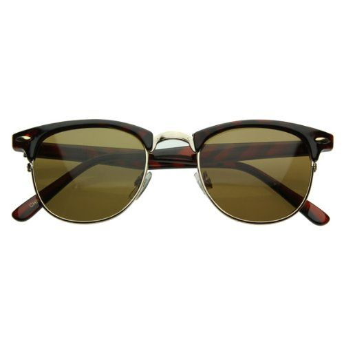 Vintage inspired half frame wayfarer shape that stays true to the classic and iconic look. Frame is made with an acetate brow and arms, metal wire lens lining and metal nose bridge. Features metal hinges, English style nose pieces, and dark-tinted glass UV protected lenses.