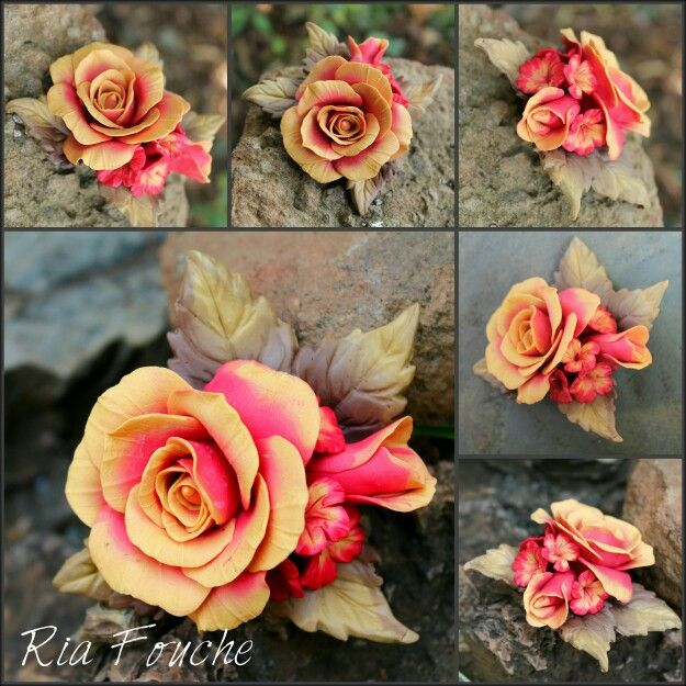 Polymer clay rose pin in warm autumn colours
