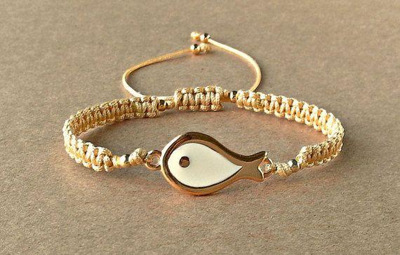 Enamel Fish Bracelet Synthetic Satin Cord Macrame by dngcreations