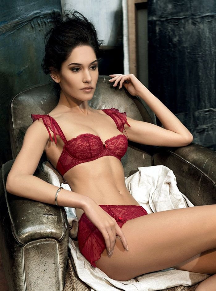 #Sexy Red #Lingerie - Lace Balconette #Bra & Sheer Full Brief Underwear