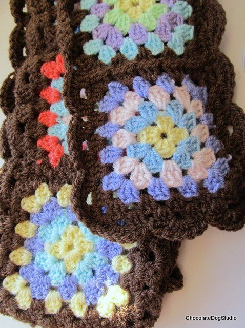 Crochet scarf pattern Granny Square scarf by ChocolateDogStudio