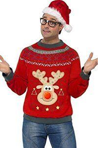 Mens Novelty Christmas Reindeer Rudolph Light Up Xmas Jumper Festive Fancy Dress Outfit (Large)