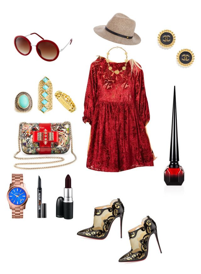 Red Hot by creaturesoftweed on Polyvore featuring polyvore fashion style ASOS Christian Louboutin MICHAEL Michael Kors Chanel Accentuality DailyLook rag & bone MAC Cosmetics Benefit clothing
