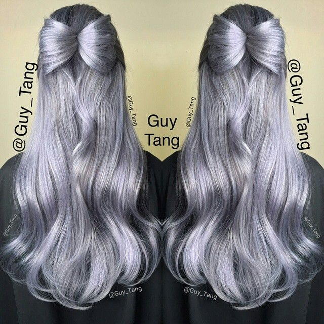 Silver platinum hair with hair bow by Guy Tang. Love it! instagram.com/hotonbeauty #hotonbeauty
