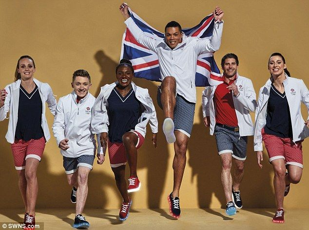 L to R Fran Halsall, swimming, Nile Wilson, gymnastics, Dina Asher Smith, athletics, Joe Joyce, boxing, Simon Mantell, hockey, and Bianca Walkden, Taekwondoí, model Team GB's Rio 2016 Olympic Games Closing Ceremony outfit with custom-made illuminated shoes