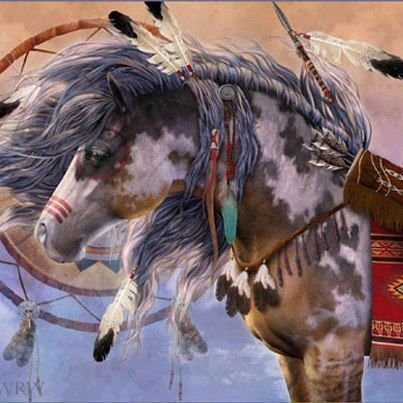 Very Dressed-Up Chestnut Paint Indian Painted War Pony, creation is ...