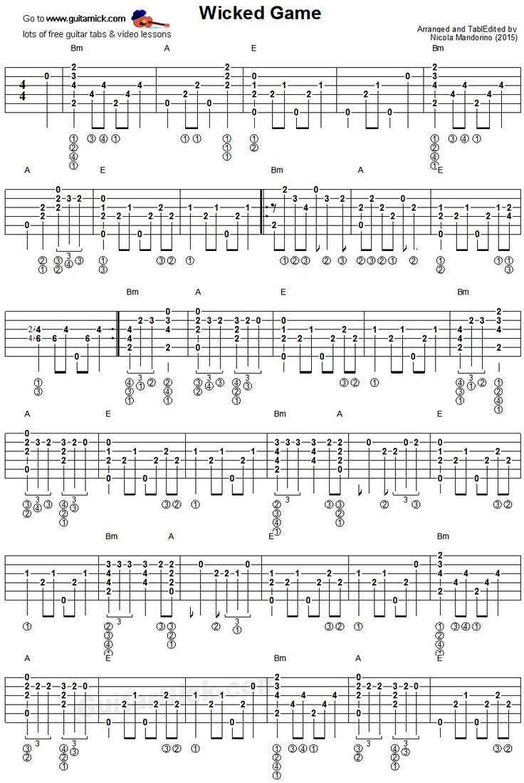 Wicked Game - fingerstyle guitar tablature 1