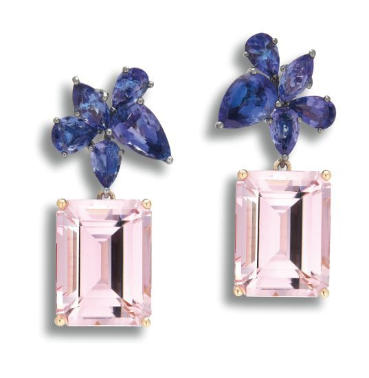 A Pair of Kunzite and Tanzanite Pendent Earrings