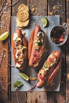 The Nacho Libre Hot-Dog. Your guests will be wrestling over this tasty hot dog with a Mexican twist! We love the zesty salsa fresca and crunch of the nachos.  Click here for the recipe.