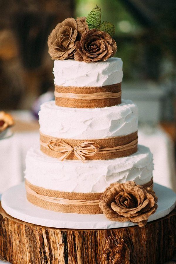 Rustic Autumn Burlap Wedding Cake / http://www.deerpearlflowers.com/rustic-country-burlap-wedding-cakes/2/