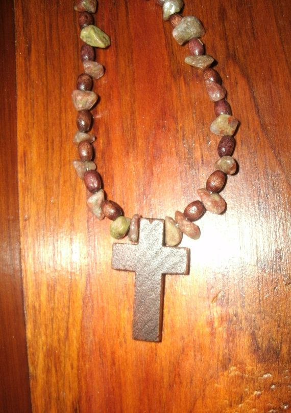 Jasper and Wooden Cross Necklace Natural by KrystalKlarityBeads