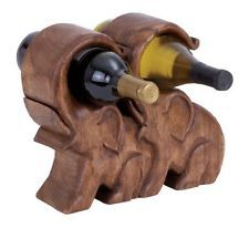 "Table Top Wood Elephant Wine Holder 11""h,10""w"
