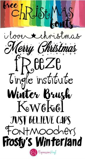 fun christmas fonts that are free and suitable for cutting expressions vinyl