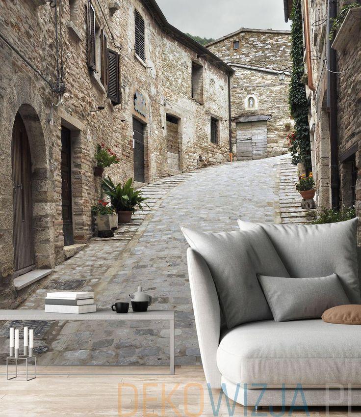 Fototapeta do salonu z widokiem na antyczną uliczkę w Piobbico