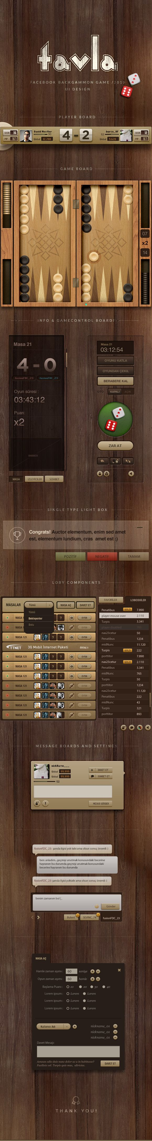 Backgammon game UI design.