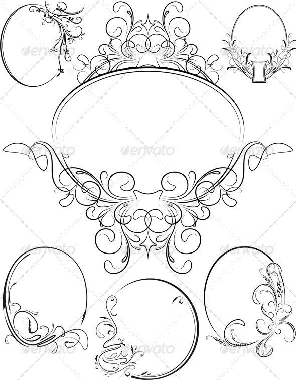 baroque frame tattoo. set of six oval frames baroque frame tattoo r
