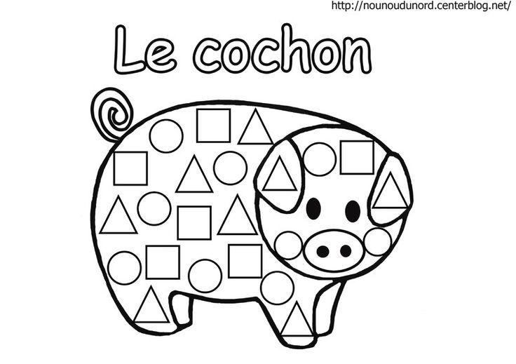 Coloriage cochon à gommettes plus difficile