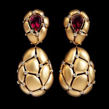 Mousson Atelier Cotton Collection Earrings Yellow gold, Tourmaline rubellite, Diamonds