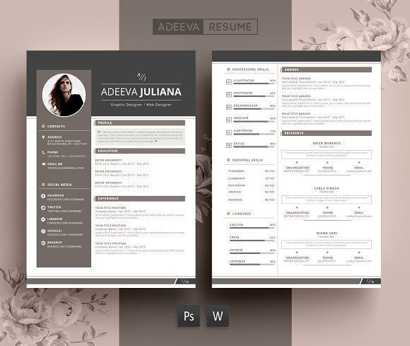 Modern Resume Template Julianna by AdeevaResume on @creativemarket Professional printable resume / cv cover letter template examples creative design and great covers, perfect in modern and stylish corporate business design. Modern, simple, clean, minimal and feminine style. Ready to print us letter and a4 layout inspiration to grab some ideas. In psd, indd, docs, ms word file format.