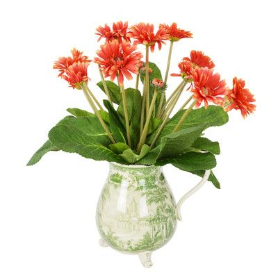 Creative Displays, Inc. Orange Gerber Daisy in Asian Pitcher