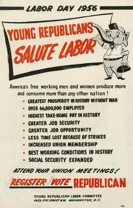 Young Republicans Salute Labor poster (1956)  Thanks to David Cowles for the tip.