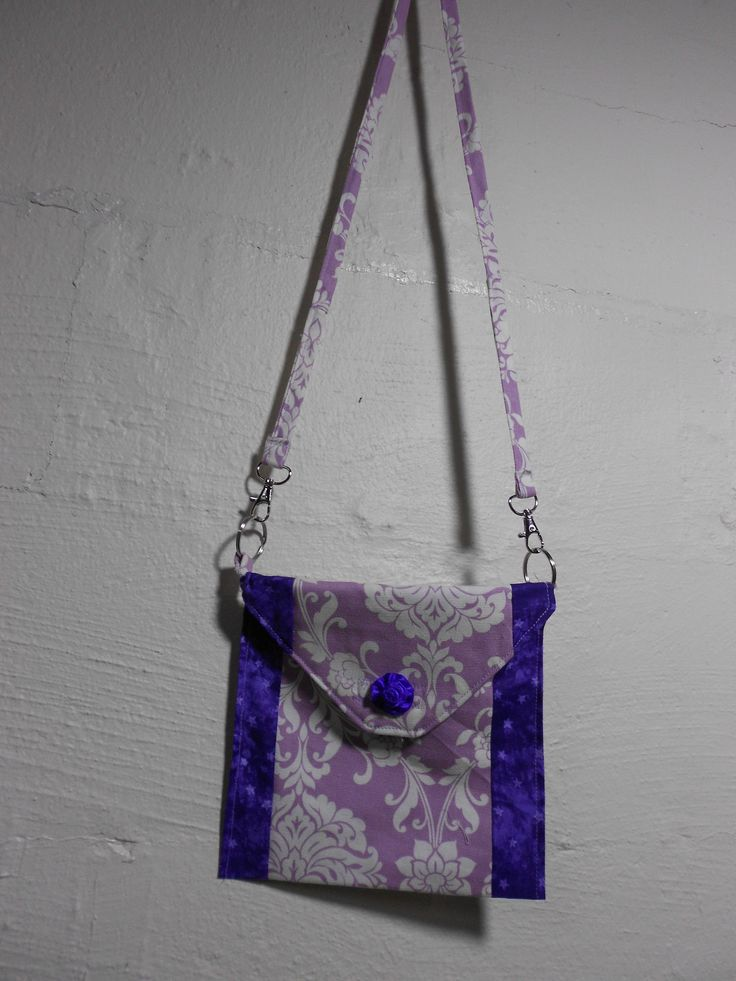 Lavender and Purple Cross Body Purse, Cell Phone Purse or Childs  8 x 8 Inch Square Velcro Closure by KitschMomma on Etsy