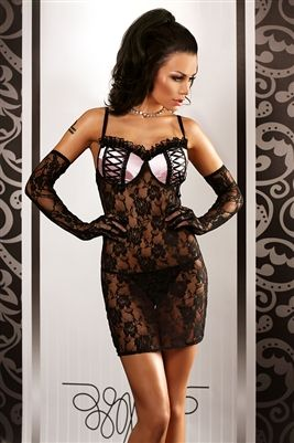 Stunning black lace chemise nightdress with pink padded cups. In size Small/Medium this chemise nightdress has shaped PUSH-UP bra cups and in sizes Large/X-Large and XX-Large/XXX-Large has stiffened cups.