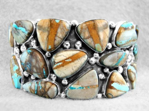 Royston Ribbon or Boulder Turquoise Bracelet Sterling Silver by Navajo artist Felix Joe