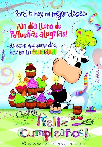 Tarjeta de cumpleaños-Un deseo para ti-Vaca Flora haciendo cupcakes de cumpleaños. © ZEA www.tarjetaszea.com