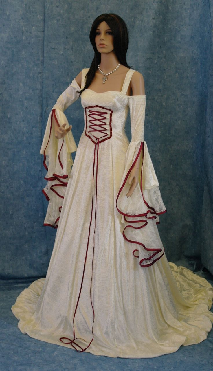 Renaissance dress, medieval wedding dress, handfasting dress, elven dress,christmas wedding dress by camelotcostumes on Etsy https://www.etsy.com/listing/111362088/renaissance-dress-medieval-wedding-dress