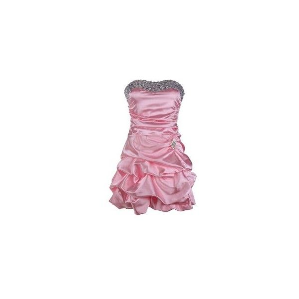 Pink Puff Diamante Dress | Puff Ball Dresses | Pink Prom Dresses ($33) ❤ liked on Polyvore featuring dresses, ruched dress, puffy prom dresses, pink prom dresses, prom dresses and cocktail prom dress
