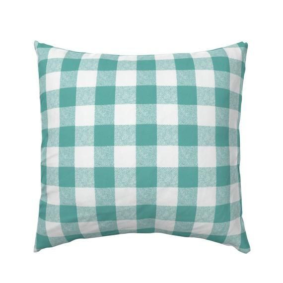 Rustic Plaid Cotton Sateen Pillow Sham Bedding by Spoonflower Blue And White Pillow Sham Buffalo Check In Aqua by willowlanetextiles