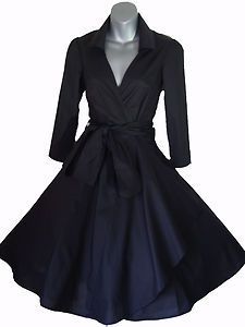 50'S STYLE ROCKABILLY PINUP SWING WRAP EVENING PARTY DRESS