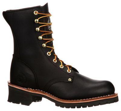 Georgia Boot Logger 8'' Steel Toe Work Boots for Men - Black - 10.5 M